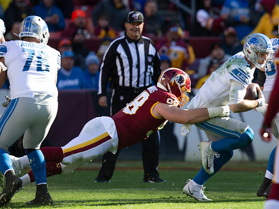 November 24, 2019 - Redskin Defensive End Matt Ioannidis chases down Detroit Lions Quarterback Jeff Driskel for one of the two sacks in the Washington 19-16 win at Fedex Field.  Photo by Mike Clark/The Montgomery Sentinel