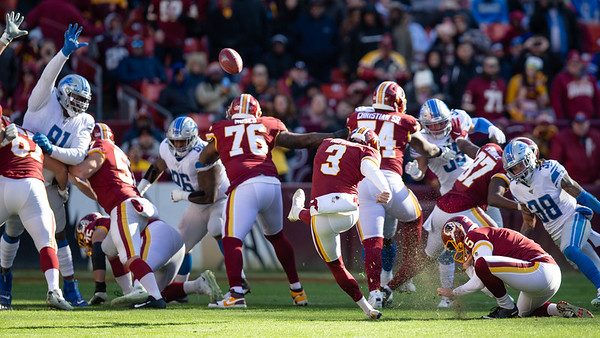 November 24, 2019 - The Detroit Lions stopped much of the Redskin's passing and rushing game but could not stop Kicker Dustin Hopkins who went 4/4 and the 39-yard game winner. Photo by Mike Clark/The Montgomery Sentinel