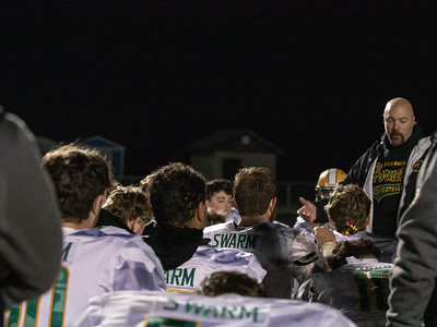 November 29, 2019 - Coach Eric Wallich addresses his Damascus Hornet team, who now have one game left in the 2019 season; a 3A championship game against Linganore on November 5th. after eliminating previously undefeated Huntingtown. Photo by Mike Clark/The Montgomery Sentinel
