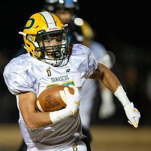 November 29, 2019 - The size advantage of the Damascus offensive line finally overwhelmed the Huntingtown defense and Damascus Running Back Chris Shaw picked up 81 critical rushing yards in the hard-fought 21-14 3A semi-final win. Photo by Mike Clark/The Montgomery Sentinel