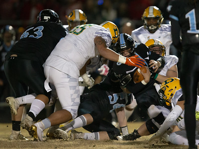 November 29, 2019 - In a tough defensive battle, both the Damascus Hornets and the Huntingtown Hurricanes used penetrated defensive line play and gang tackles in a hard-fought 21-14 Damascus 3A semi-final win. Photo by Mike Clark/The Montgomery Sentinel