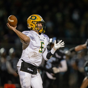 November 29, 2019 - Damascus Hornet's Quarterback Michael O'Neil guides his team back to the state finals with a hard--fought 21-14 win over Huntingtown. Photo by Mike Clark/The Montgomery Sentinel