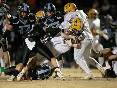 November 29, 2019 - In a hard-fought 3A semi-final game, gang tackling made it hard for either Damscus or Huntingtown to gain yards. Photo by Mike Clark/The Montgomery Sentinel