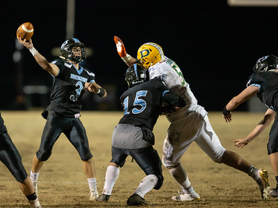 November 29, 2019 - Top national recruit Brian Bresee of Damascus forces an interception by Huntingtown's Noah Kuntz. The turn-over helped Damascus secure another visit to the state championship game. Photo by Mike Clark/The Montgomery Sentinel