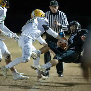 November 29, 2019 - The 2019 3A semi-final game with host and top-seeded Huntingtown against powerhouse Damascus was filled with hard hits, like this one by Ricky Bruno of Damascus. Photo by Mike Clark/The Montgomery Sentinel