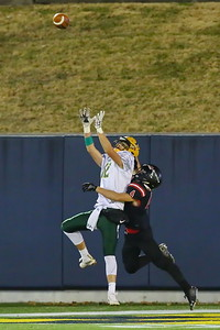 George P. Smith/The Montgomery Sentinel    Damascus' Diego Mendez (12) looked poised to make this catch in the endzone in front of Linganore's Brady Domroe (4) but Domroe seemed to arrive a bit early and the ball fell incomplete, yet no interference was called.