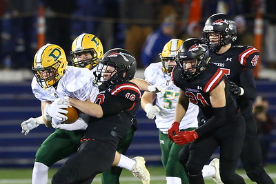 George P. Smith/The Montgomery Sentinel    Linganore's Will Coletti (10) tries to pry the ball out of the hands of Damascus' Timmy Furgeson (2).