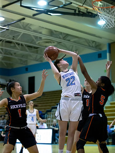 December 6, 2019 - Carter McGloon if Whitman could not be stopped by the Rockvill defenders as she put up 17 in the 60-32 win at home. Photo by Mike Clark/The Montgomery Sentinel