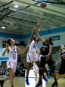 December 6, 2019 - Dew Meadows of Whitman drains this shot for two of her six points against the under-sized Rockville. Photo by Mike Clark/The Montgomery Sentinel