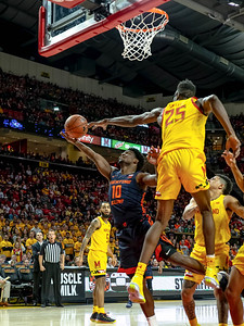 December 7, 2019 - Maryland's Jalen Smith blocks this shot by Illinois' Andres Feliz to spark a Maryland comeback and remain undefeated on the year. Photo by Mike Clark/The Montgomery Sentinel