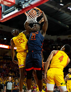 December 7, 2019 - Maryland had difficulty dealing with 7' Kofi Cockburn of Illinois in the paint - part of the Fighting Illini's24 points in the paint. Marylad would come from behind as Cockburn was forced sit most of the second half with foul trouble. Photo by Mike Clark/The Montgomery Sentinel