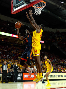 December 7, 2019 - Maryland's Jalen Smith blocked three Illinois shots but was disruptive on most shot attempts in the paint. Photo by Mike Clark/The Montgomery Sentinel