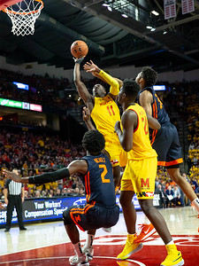 December 7, 2019 - Maryland's Darryl Morsell drives the lane for two of his 10 points to help the Terps close the deficit against Illinois. Photo by Mike Clark/The Montgomery Sentinel