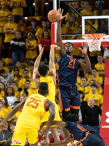 December 7, 2019 - Maryland's Anthony Cowan, Jr. tries to clear the outstrectched arms of 7' Kofi Cockburn of Illinois. The Ilini height proved a big challenge for the Terps, who fell behind by as much as14 points. Photo by Mike Clark/The Montgomery Sentinel