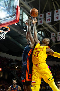 December 7, 2019 - Maryland won the turn-over and rebounding battles, including this one by Hakim Hart (13), in the second-half of the game to pull off a 59-58 come-from-behind win over Illinois. Photo by Mike Clark/The Montgomery Sentinel