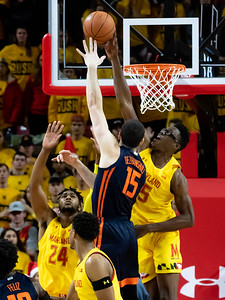 December 7, 2019 - The Maryland Terps rode the strong defense of Jalen Smith, including this block on Illinois' Giorgi Bezhanishvili to close a 15-point deficit. Photo by Mike Clark/The Mongtomery Sentinel