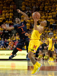 December 7, 2019 - Maryland Terp Point Guard Anthony Cowan, Jr. gets this steal and the Terps stole the game from Illinois, who held the led the entire game until Cowan's game-winning free-throw with 2.1 seconds left. Photo by Mike Clark/The Montgomery Sentinel