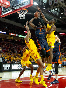 December 7, 2019 - Maryland's Jalen Smith blocks this shot by Illinois' Kipper Nichols - a key play in turning around the game in the late second half and moving the Terps to a 10-0 record. Photo by Mike Clark/The Montgomery Sentinel