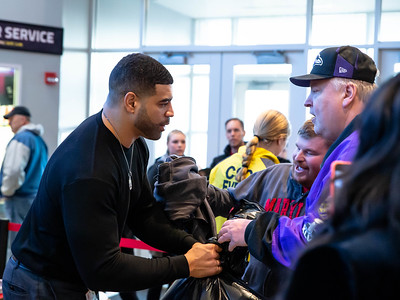 December 7, 2019 - Former Maryland Terrapin and NFL standout Shawne Merriman takes in coat donations at his 17th annual coat drive for kids and the homeless. This year's event was held during the Maryland vs Illinois Big Team match-up. Photo by Mike Clark/The Montgomery Sentinel