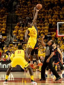 December 7, 2019 - Maryland's Jalen Smith wins the openning tip and adds three blocks, two steals, and 14 points in the Terp's dramatic last-second comeback win over Big Ten Illinois. Photo by Mike Clark/The Montgomery Sentinel