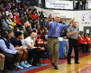 George P. Smith/The Montgomery Sentinel    Bullis School's head coach Bruce Kelley appeals a no call to a referee.