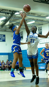 December 13, 2019 - Rachel Mutumbo of Blake gets one of the many blocked shotes by both Blake and Laurel girls. Laurel's smothering defense largely held down Blake's offense and won 48-35 in the inter-county game at Blake. Photo by Mike Clark/The Montgomery Sentinel
