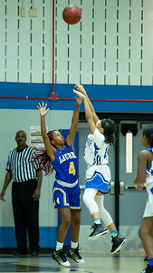 December 13, 2019 - Blake's Raina Coleman drains two of her eight points in the hard-fought loss to Laurel High School 48-35 at Blake. Photo by Mike Clark/The Montgomery Sentinel