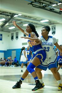 December 13, 2019 - Marissa Steel of Laurel was a dominent presence in the paint against Blake in the 48-35 Laurel win at Blake High School in Silver Spring on December 13. Photo by Mike Clark/The Montgomery Sentinel