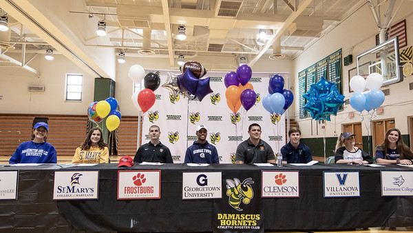 December 18, 2019 - The first National Letter of Intent ceremony at Damascus High School has three Division 1 commits, including Brian Bresee to Clemson, the nations top football recruit. Photo by Mike Clark/The Montgomery Sentinel