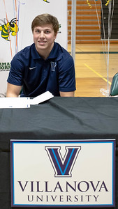 December 15, 2019 - Damascus' football and lacrosse player and wrestler Timmy Furgeson signs his letter of commitment to Villanova on December 15 at Damascus High School. Photo by Mike Clark/The Montgomery Sentinel
