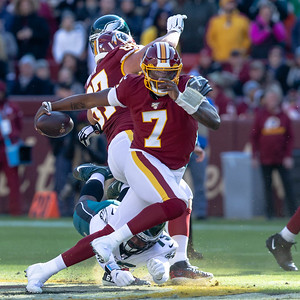 December 15, 2019 - IRedskins' Quarterback Dwayne Haskins Jr.scrambles for a first down in what may have been one of his best days as a pro with two touchdowns, 261 yards of passing, and 26 yards rushing against NFC East rival Philadelphia Eagles. Photo by Mike Clark/The Montgomery Sentinel