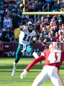 December 15, 2019 - Carson Wentz led his Eagles into FedEx Field in a must-win game against the Redskins. Wentz finished with 266 yards and three touchdowns in the 37-27 win to keep their playoff hopes alive. Photo by Mike Clark/The Montgomery Sentinel