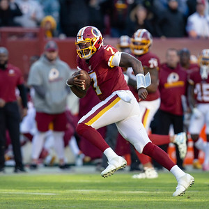 December 15, 2019 - Redskin rookie Dwayne Haskins, Jr. escapes the pocket and scrambles for the first down. Haskins finished with 266 passing yards and 26 yards running in the 37-27 loss to the Eagles. Photo by Mike Clark/The Montgomery Sentinel