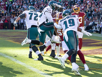 December 15, 2019 - Miles Sanders of the Philadelphia flies into the endzone for the Eagles first touchdown in the game with Washington, which was close until the final seconds of the NFC East game at FedEx Field. Photo by Mike Clark/The Montgomery Sentinel