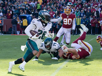 December 15, 2019 - Miles Sanders of the Philadelphia Eagles fights plenty of running room against the Redskins defense - racking up 122 yards on 19 carriers in the 37-17 Eagle win at FedEx Field on December 15. Photo by Mike Clark/The Montgomery Sentinel
