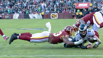 December 15, 2019 - Washington's Jonathan Allen (93) and Da'Ron Payne (94) stop the Eagles' Carson Wentz at the Redskin two yard line. The Eagles would later score to take the lead. Photo by Mike Clark/The Montgomery Sentinel