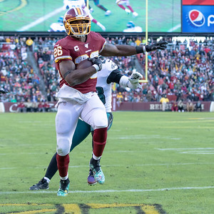 December 15, 2019 - Adrian Peterson draws the Redskins to within four points with this 10-yard touchdown run to start the 4th quarter at FedEx Field. Photo by Mike Clark/The Montgomery Sentinel