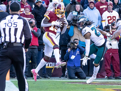 December 15, 2019 - Steven Sims Jr. hauls in this second quarter 5-yard touchdown pass from Dwayne Haskins Jr. to take an early lead in the December 15 game at FedEx Field. Photo by Mike Clark/The Montgomery Sentinel