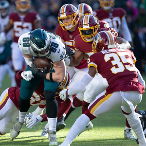 December 15, 2019 - The Redskin defense used gang tackling on this stop of the Eagles Dallas Goedert but gave up 423 yards in the loss to Philadelphia 37-27. Photo by Mike Clark/The Montgomery Sentinel