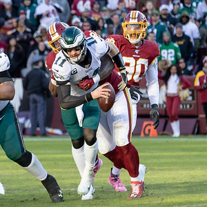 December 15, 2019 - Washington's Da'Ron Payne attacks the Eagles' Quarterback Carson Wentz but Wentz gets rid of the ball just before taking the sack. The Redskins defense forced three fumbles in the 37-27 loss at home. Photo by Mike Clark/The Montgomery Sentinel