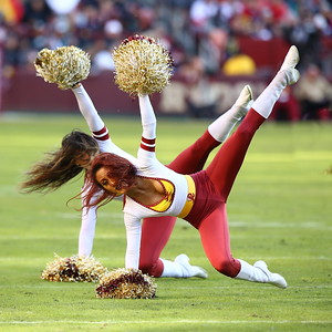 George P. Smith/The Montgomery Sentinel    Washington Redskin cheerleaders performing during half-time.