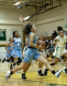 December 20, 2019 - Miki Howson of Clarksburg dropped in 16 points against the host Seneca Valley Screaming Eagles in the 93-47 win on December 20th. Photo by Mike Clark/The Montgomery Sentinel