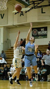 December 20, 2019 - Clarksburg's Miki Howson lays in two of her 6 points in the 93-47 win at Seneca Valley. Photo by Mike Clark/The Montgomery Sentinel