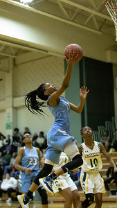 December 20, 2019 - Clarksburg's Mia Smith drops in two of her six second-half points in the 93-47 win at Seneca Valley. Photo by Mike Clark/The Montgomery Sentinel