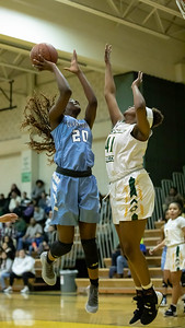 December 20, 2019 - Athina Nana Nkangnia of Clarksburg dropped in 10 points against the host Seneca Valley Screaming Eagles in the 93-47 win on December 20th. Photo by Mike Clark/The Montgomery Sentinel