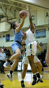 December 20, 2019 - Seneca Valley's Briana Dorsey gets the block on Clarksburg's Miki Howson but Howson would finish with 16 points in the 93-47 win at Seneca Valley. Photo by Mike Clark/The Montgomery Sentinel