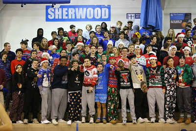 George P. Smith/The Montgomery Sentinel    Sherwood student section in a festive mood.