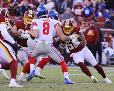 George P. Smith/The Montgomery Sentinel    The Redskins' putting pressure on young Daniel Jones (8).