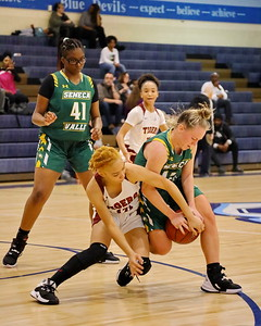 George P. Smith/The Montgomery Sentinel    Takoma Academy's Jade Berryman (12) and Seneca Valley's Hannah Himes (13) battle over a loose ball.