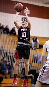 December 27, 2019 - Cole Allemong of Quince Orchard drains his third three-point shot of the game aginst Urbana December 27th. Photo by Mike Clark/The Montgomery Sentinel